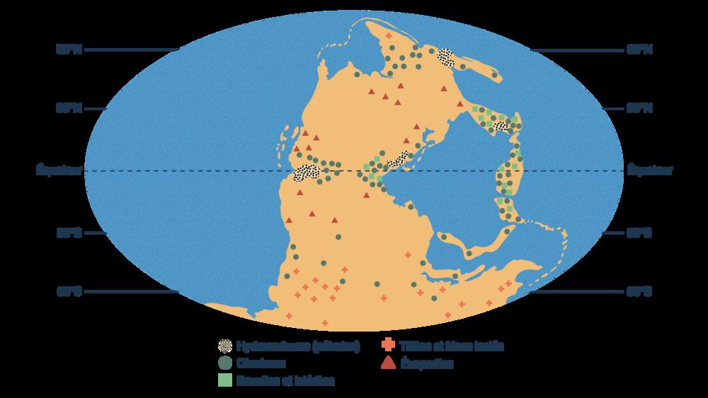 Répartition de certaines roches sédimentaires au Permo-Carbonifère