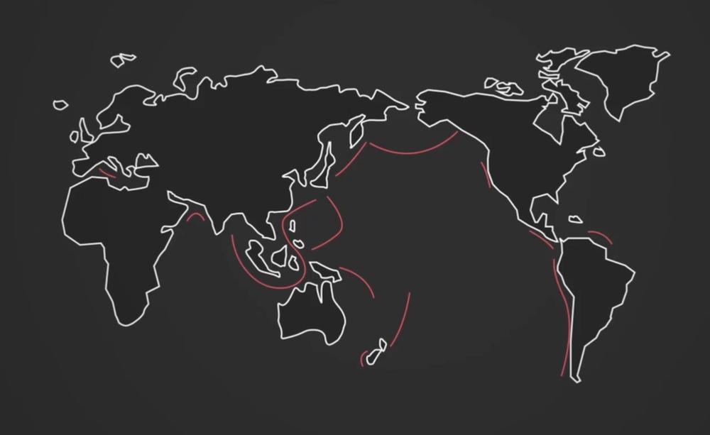 Carte des zones de subduction