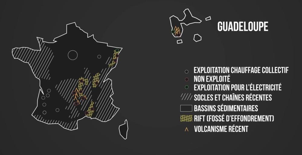 Carte de France de l'exploitation géothermique