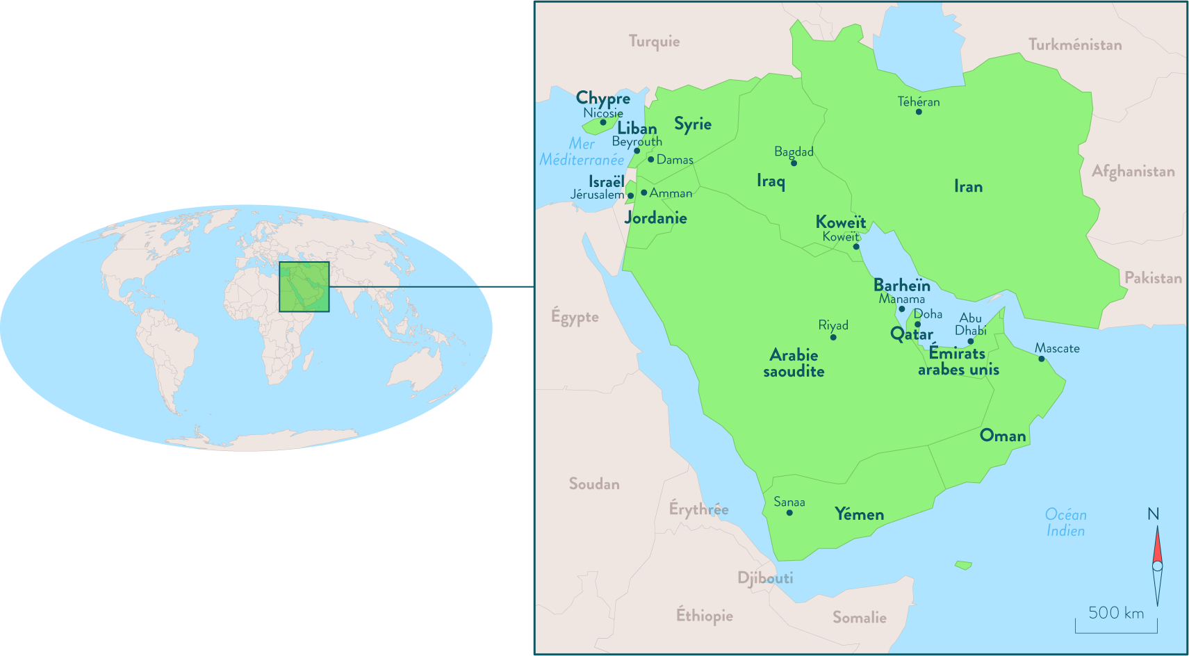 Carte du Proche et Moyen-Orient