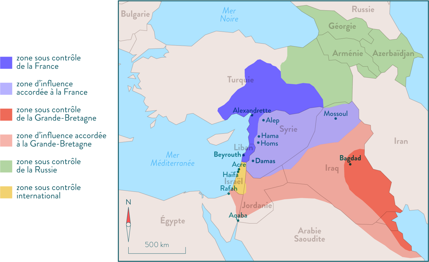Carte des accords de Sykes-Picot