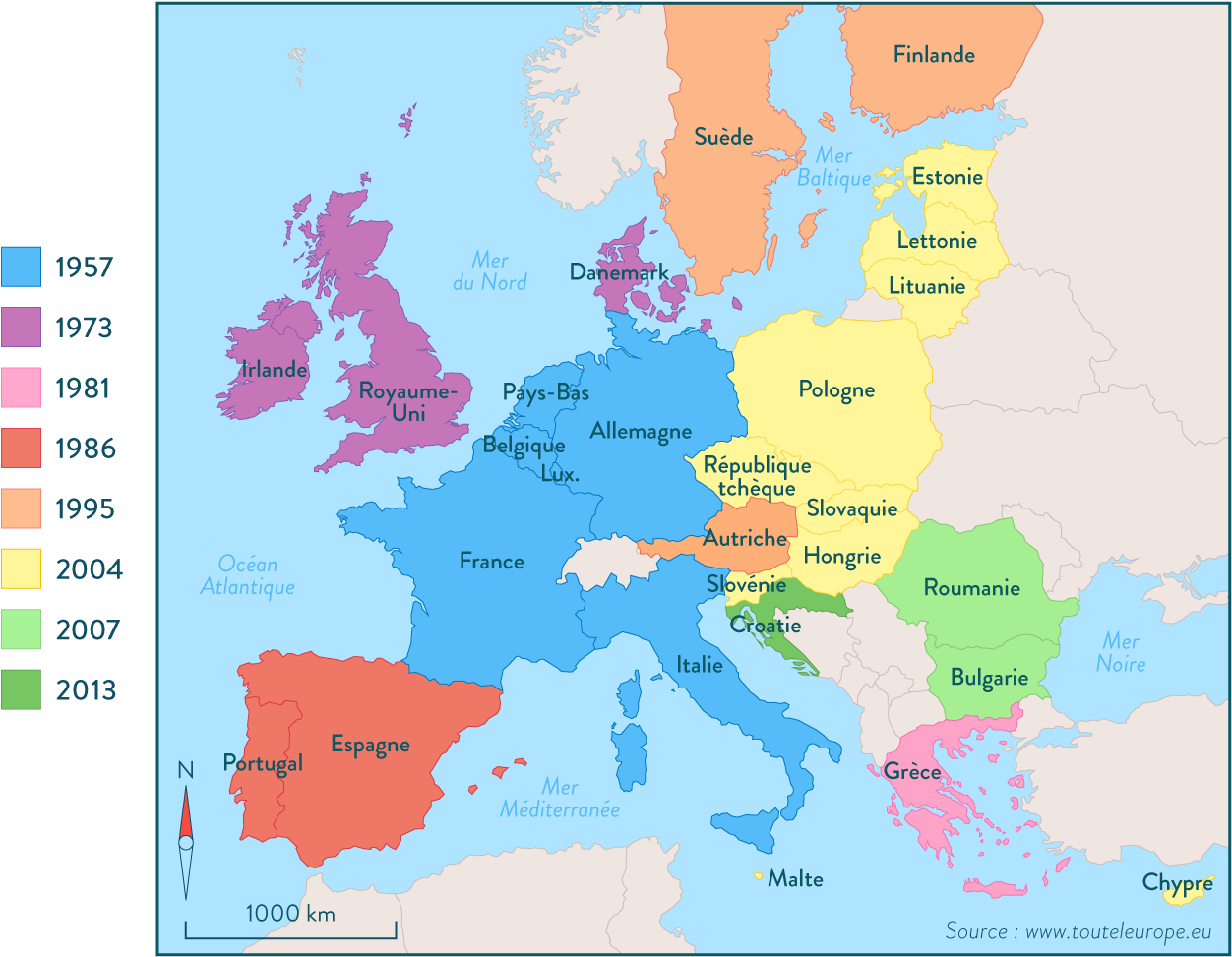 Carte des élargissements successifs de l'Europe