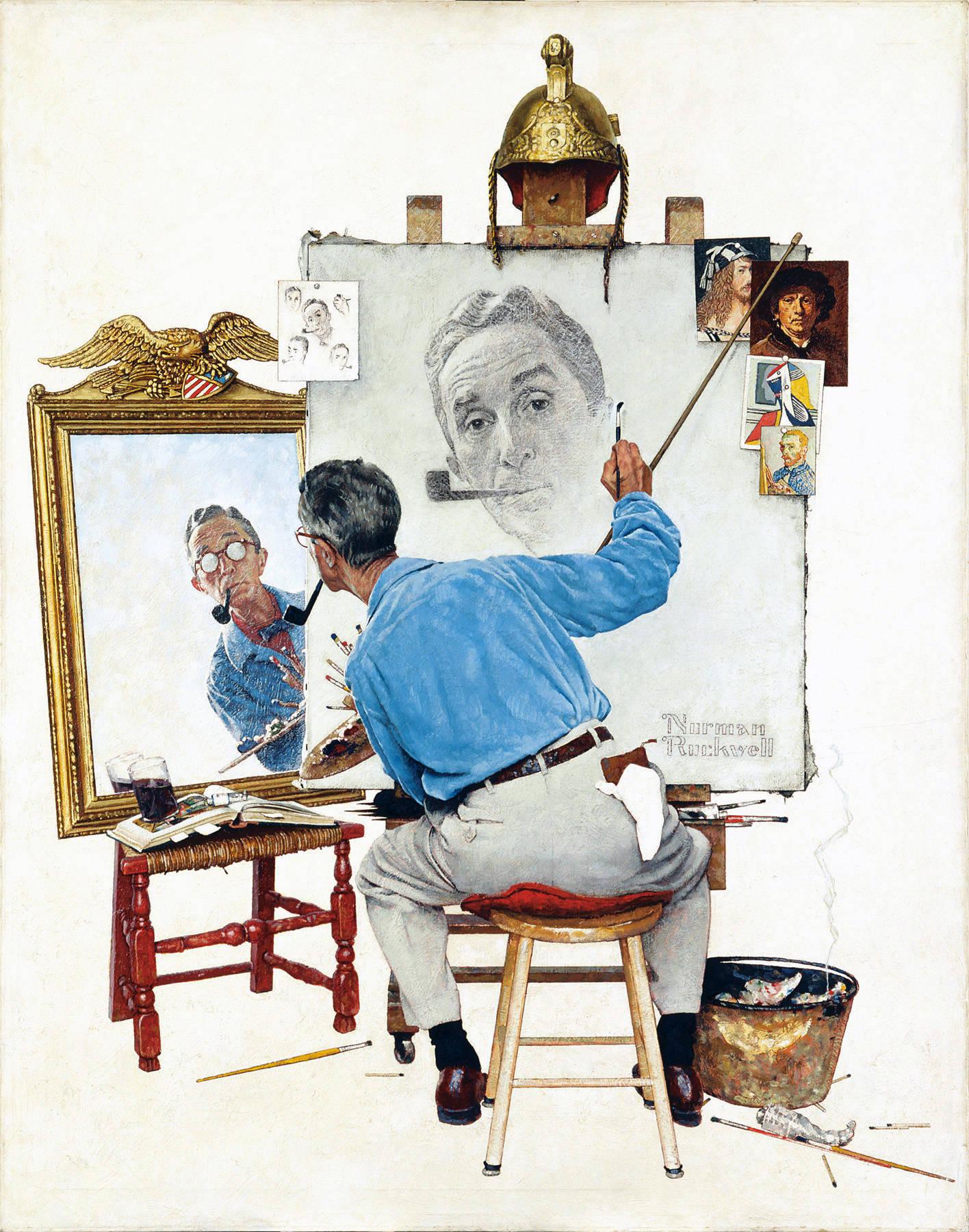 Triple autoportrait, Norman Rockwell, 1960 exercice littérature terminale